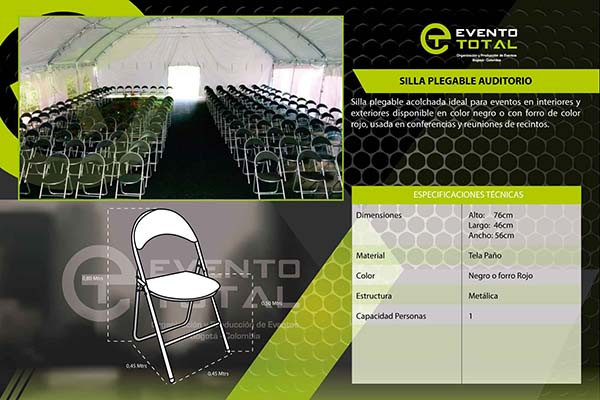 silla plegable auditorio