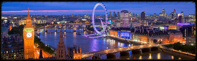 Night view of the River Thames, London and London Eye