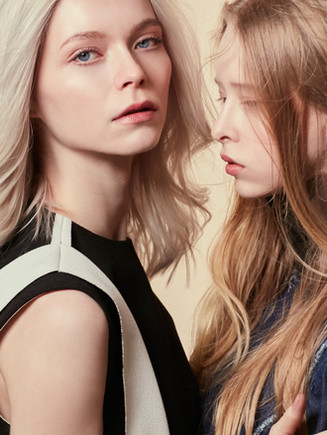 Photographer   Leoni Blue Makeup &Hair   Evelyn Hsiao(R) & Sophie Middleton(L) Stylist   Ravi Kelay Model   Noa Abbenhuis(R)  (First Model Management) & Ivy Watson(L) (Models1)
