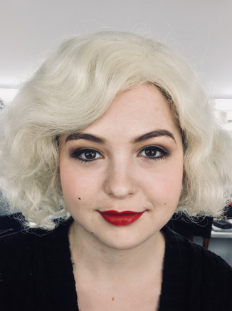 inspired by 1960s contemporary fashion makeup with red lips