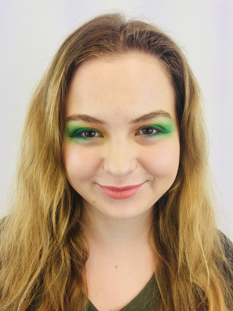 spring in the air - by using forest green and peach blossom to create lovely look