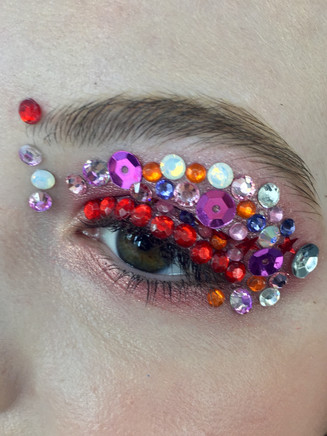 spring eyes look by using peach echo color with Swarovski crystals and glitter