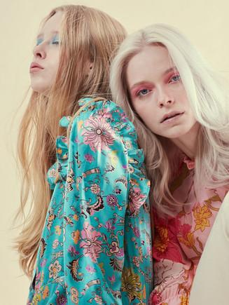 Photographer   Leoni Blue Makeup &Hair   Evelyn Hsiao(L) & Sophie Middleton(R) Stylist   Ravi Kelay Model   Noa Abbenhuis(L)  (First Model Management) &  Ivy Watson(R) (Models1)