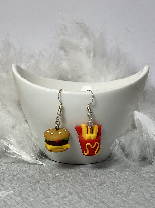 Boucles d'oreilles  hamburger -frites