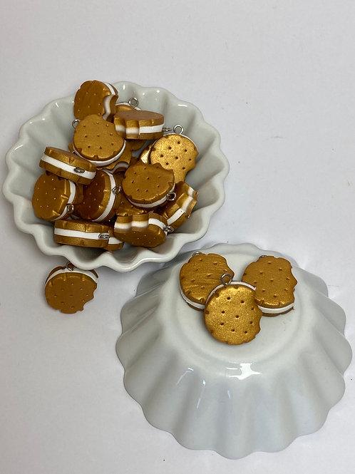 Breloque  biscuit rond vanille