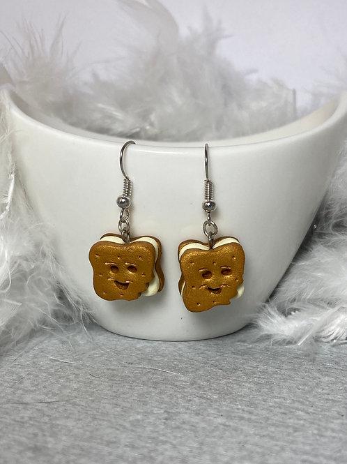 Boucles d'oreilles biscuit sourire vanille