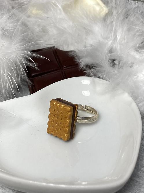 Bague petit biscuit  fourré chocolat