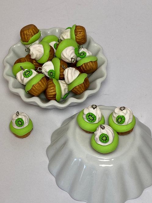 Breloque  Cupcake kiwi