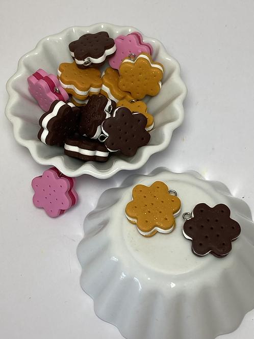 Breloque biscuit fleur