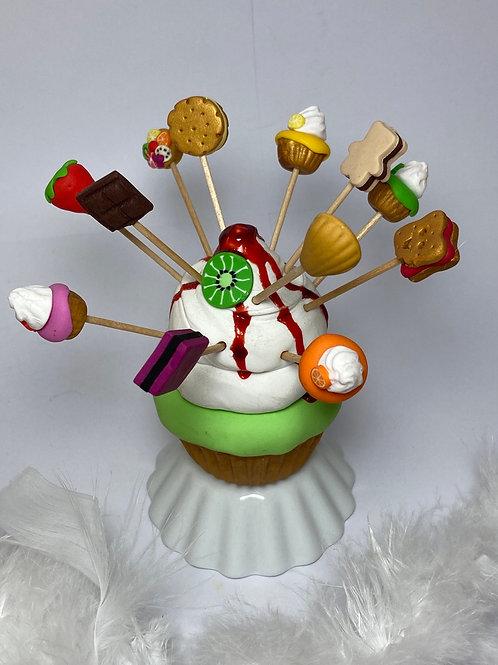 Présentoir  Cupcake vert coulis fraise