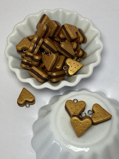 Breloque cœur fourré chocolat