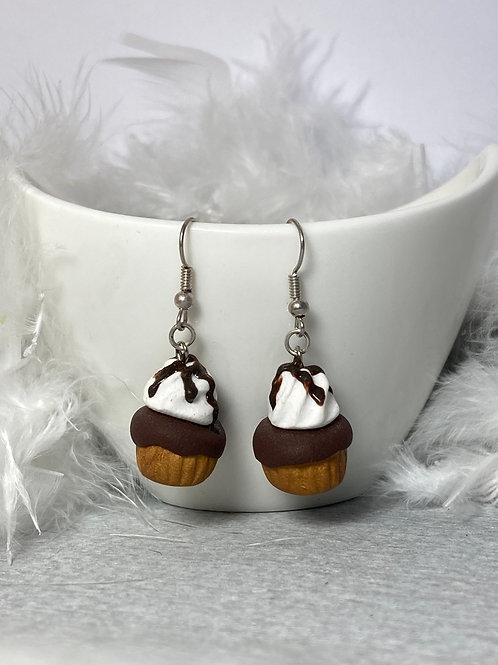 Boucles d'oreilles  cupcake  chocolat
