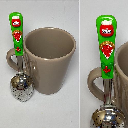 Cuillère  à thé  verte-cerise