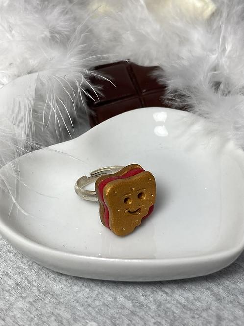 Bague biscuit sourire fraise