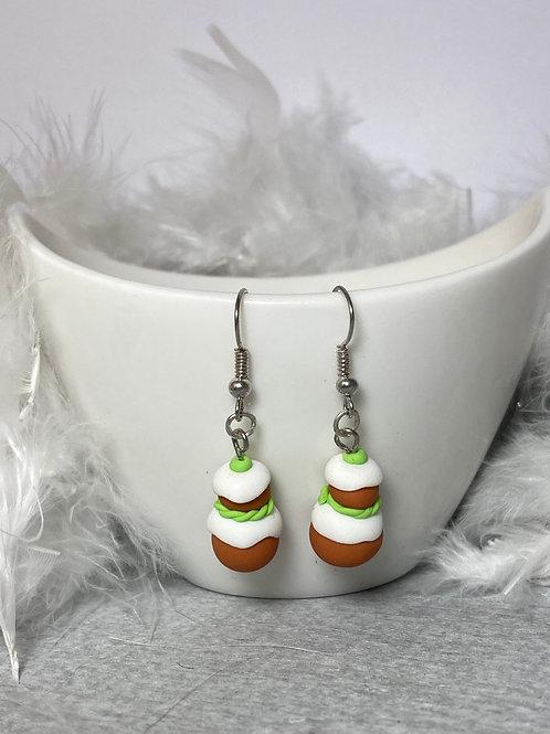 Boucles d'oreilles  religieuse pistache