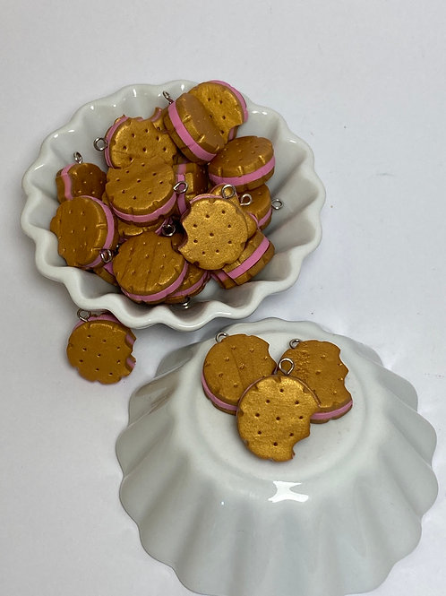 Breloque  biscuit rond fraise