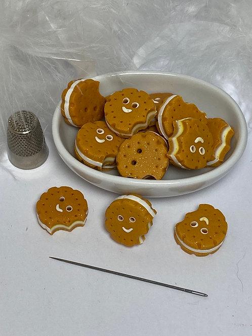 Bouton biscuit souriant fourré vanille