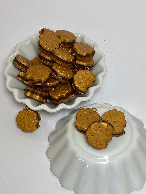 Breloque  biscuit rond chocolat