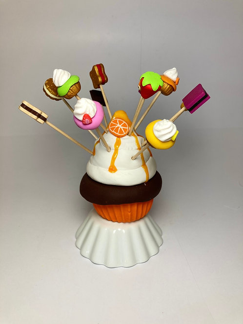 Présentoir  Cupcake orange - chocolat