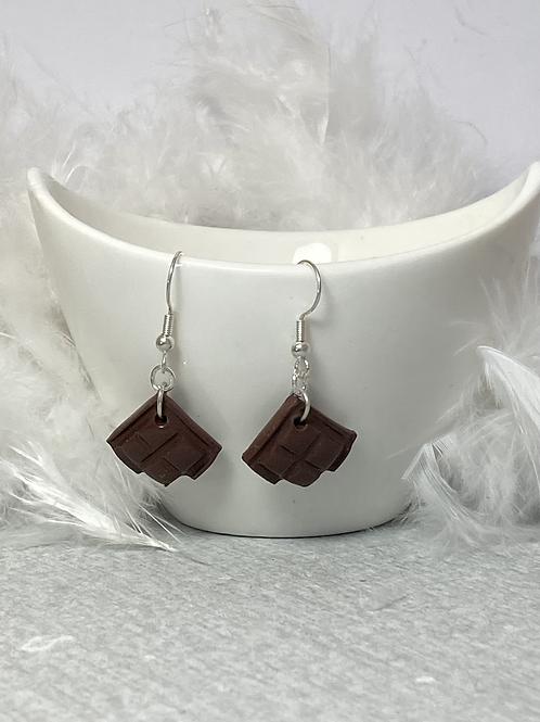 Boucles d'oreilles carré chocolat noir croqué