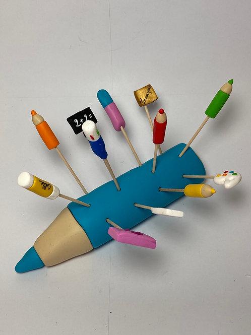 Présentoir crayon turquoise