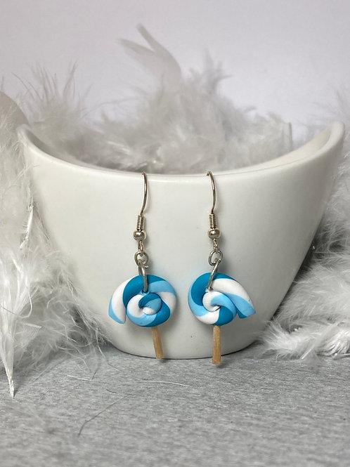 Boucles d'oreilles  sucette turquoise