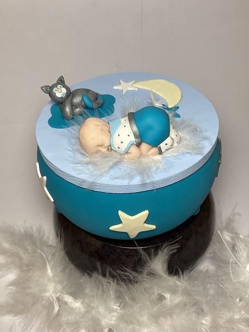 Boîte à musique turquoise bébé - chat