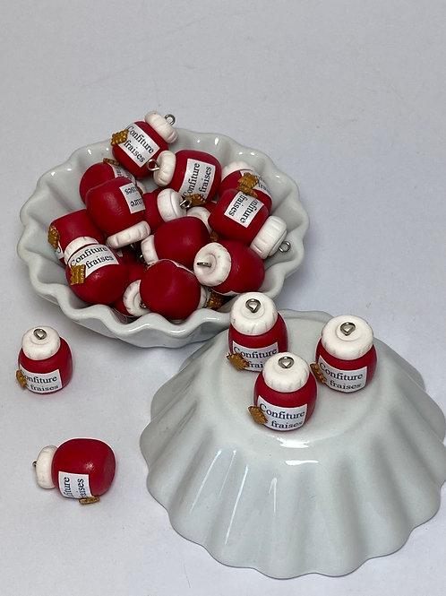 Breloque  Pot de confiture de fraise