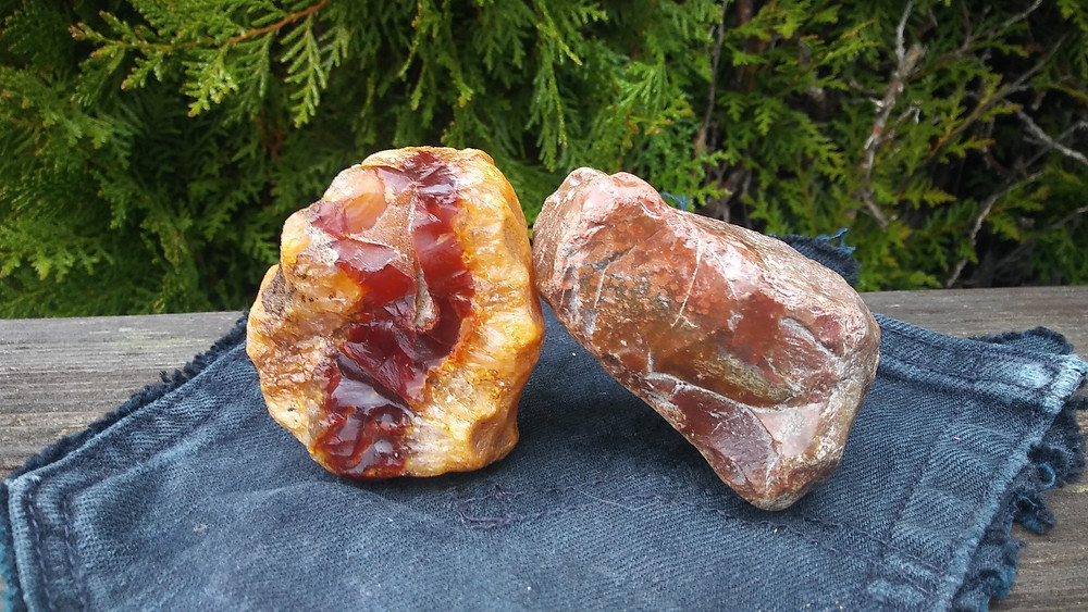 Figure 4: Carnelian agate and jasper, both found at the same site in southwestern Washington.