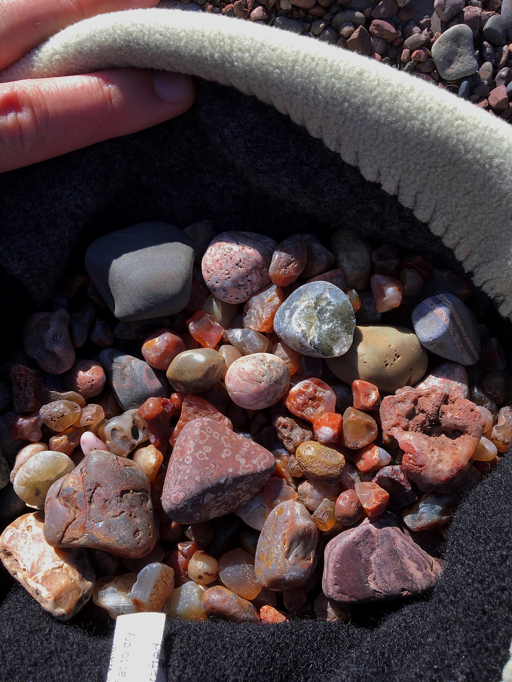 Figure 3: Assorted pea agates, jaspers, and Thomsonite from Lake Superior area.