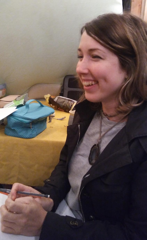 Figure 1: Renee Meschi, celebrating Sukkot and sharing her epic pocket rock tale.