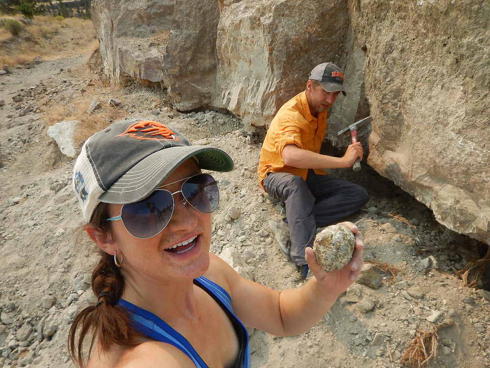 Figure 8: Alex Jensen and I sitting at the Moss Bed face after extracting some sick moss agate thunder eggs.