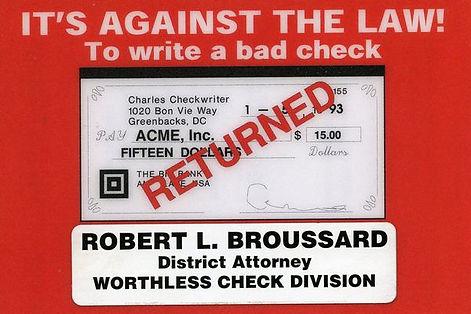 DA Worthless Check Division sticker