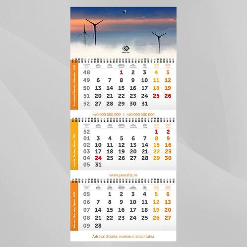 Calendar triptic cu personalizare intre fascicole