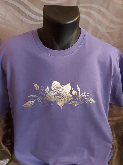 "Tee-shirt ""fleurs argentées"""