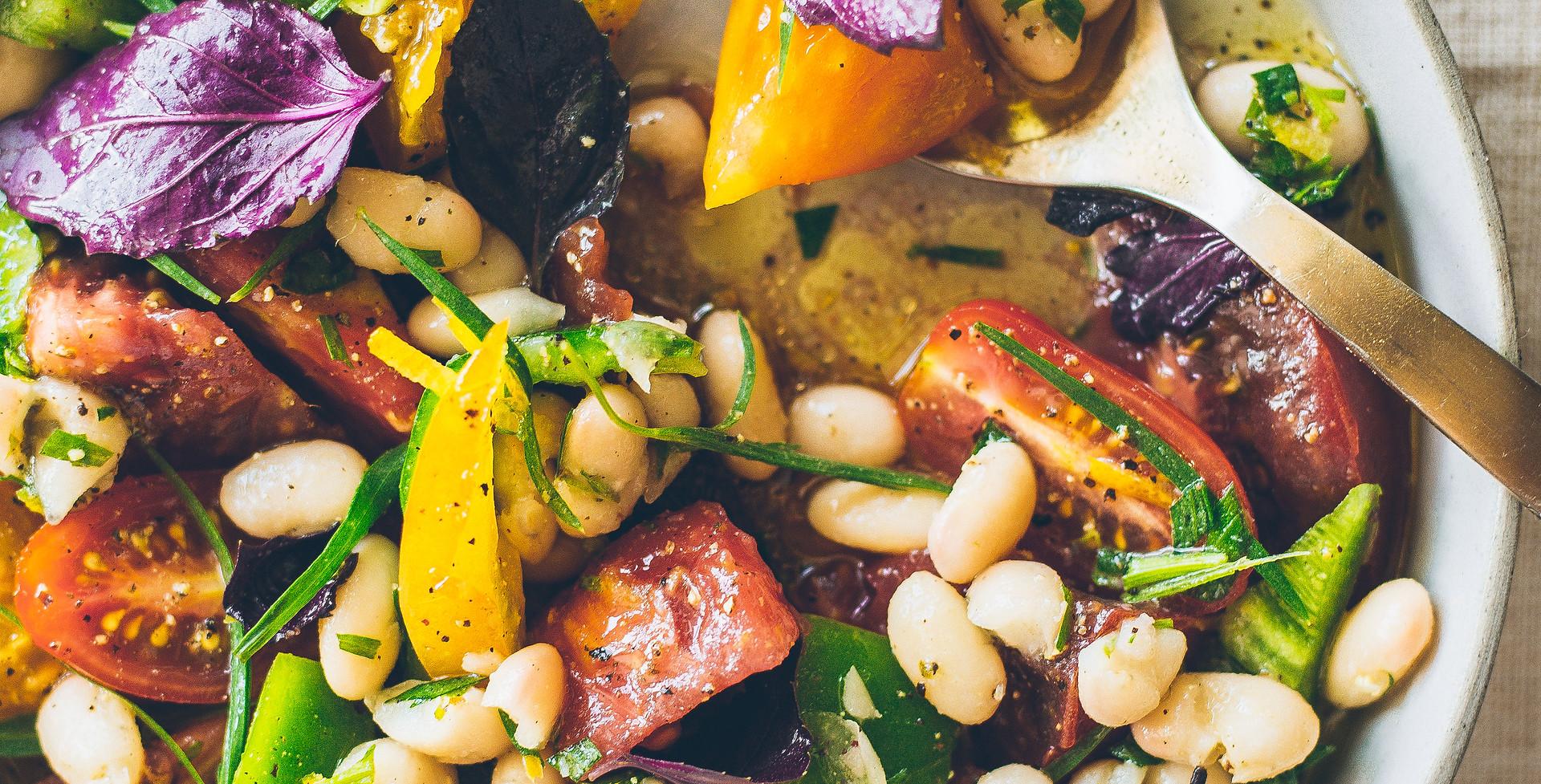 Tomato, lemon beans, summer herbs
