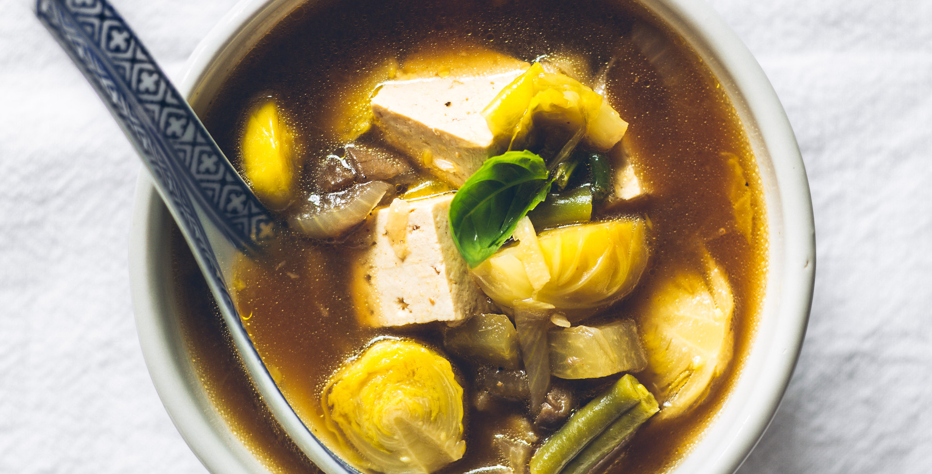 Wholesome miso soup with kohlrabi and Brussels sprouts
