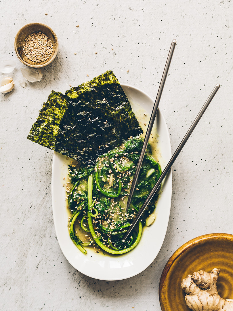 Asian Greens drowned in Miso, Ginger and Garlic Sauce