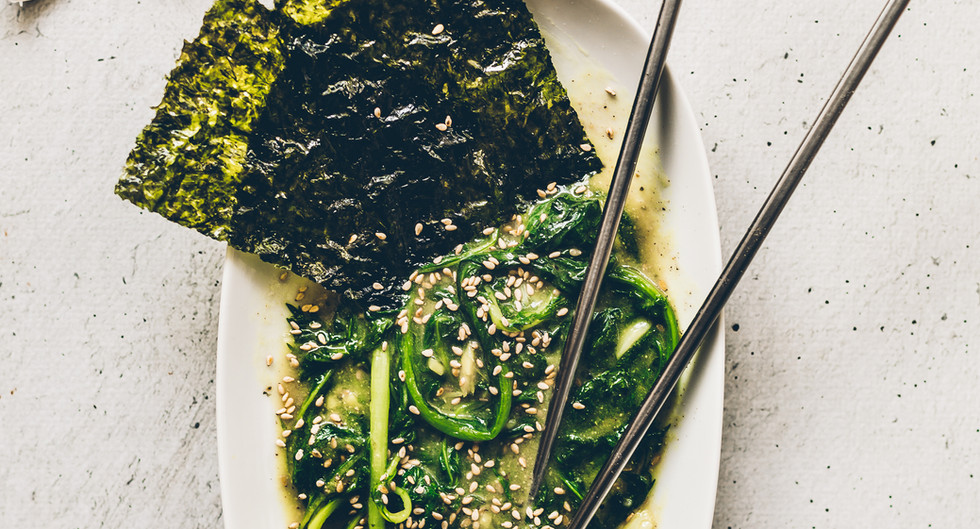 Asian Greens drowned in Miso, Ginger and Garlic Sauce Copy