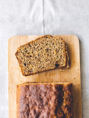 Vegan banana bread w/ raisins, rum, and orange
