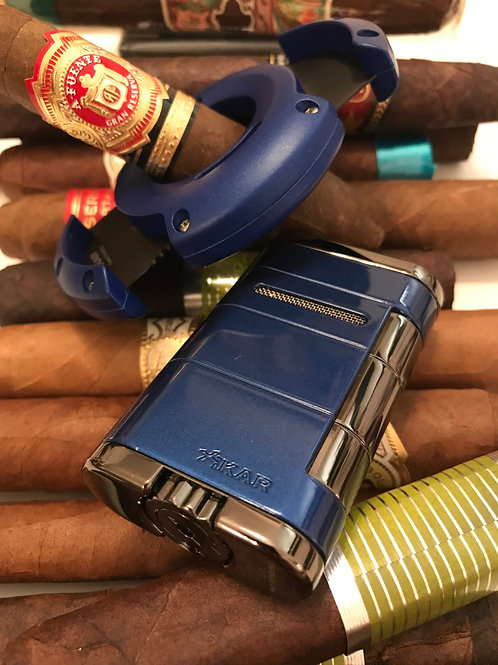 Xikar Blue XO Cigar Cutter and Allume Twin Flame Cigar Lighter