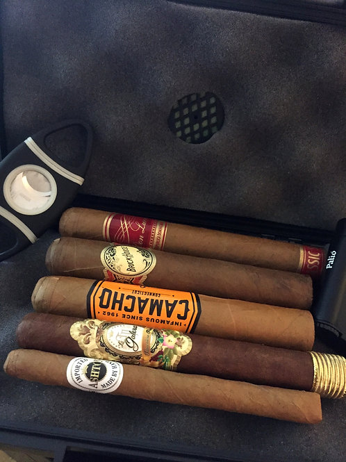 New To Cigars Sampler With Lighter, Cutter And Travel Humidor