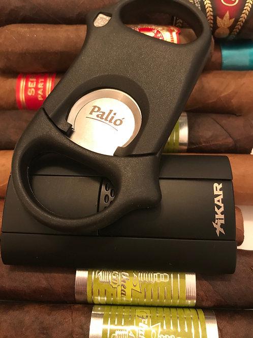 Black Xikar Flash Cigar Lighter & Palio Cigar Cutter