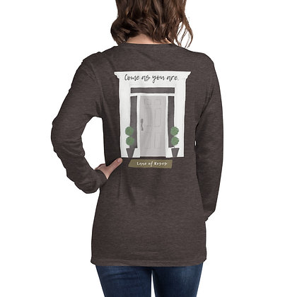 Come As You Are Long Sleeve Tee - Gray Door Design on Back