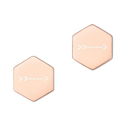 Even More >> Arrows Hexagon Stud Earrings (18K Rose Gold or 24K  Coating)