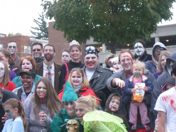 Our First Zombie walk in October 2008. It was freezing, yet super fun! Evie chowed on her Goldfish throughout the walk!