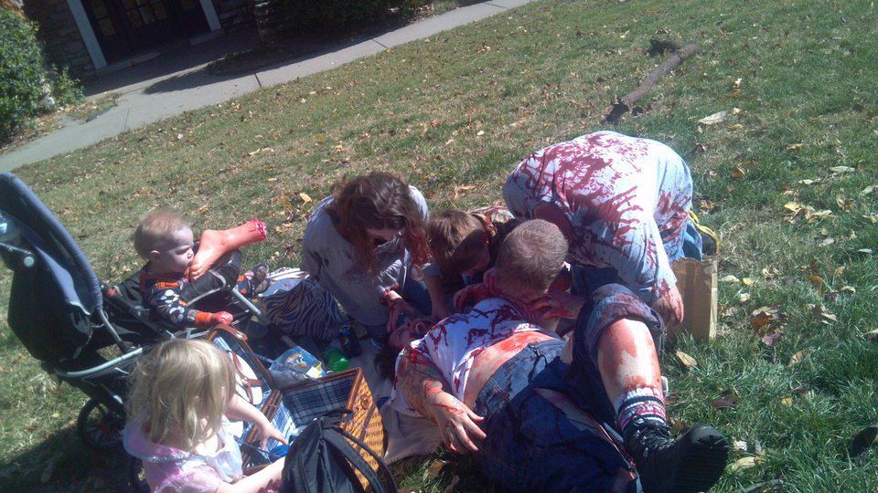 Zombie Family enjoying a picnic in the park!