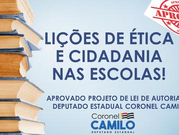 Coronel Camilo: aprovado projeto de lei que prevê lições de ética e cidadania nas escolas