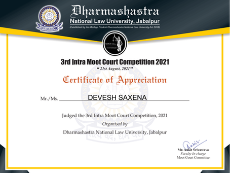 Adjudged 3rd DNLU Intra Moot Court Competition, 2021