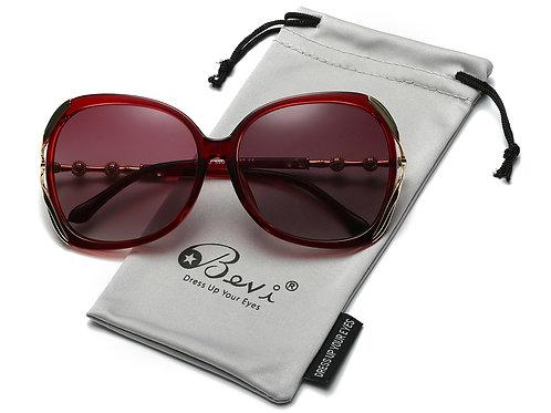 Bevi Polarized Metal Sunglasses, 100% UV Blocking & Bonus Cleaning Cloth